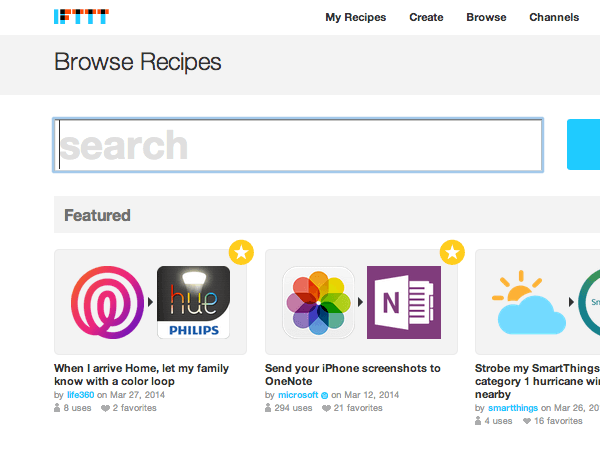 IFTTT homepage screenshot