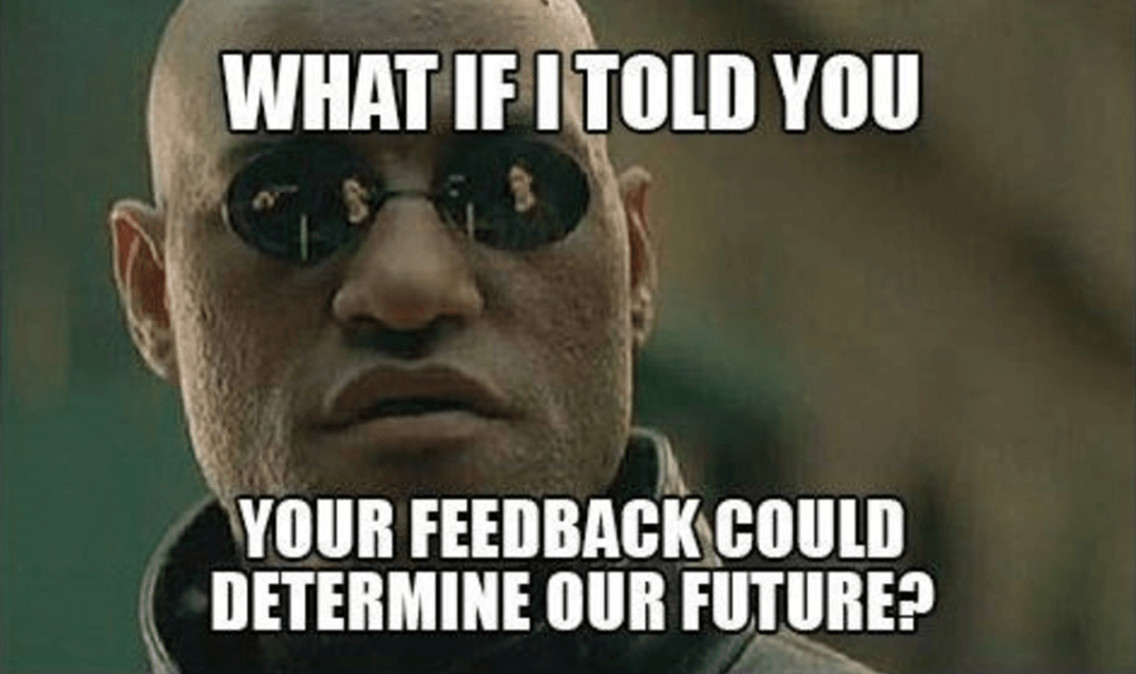 "Meme from ""The Matrix"" about taking surveys."